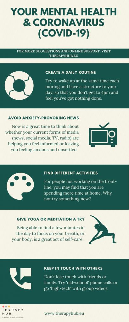 Graphic with tips for supporting your mental health during the coronavirus pandemic. Includes creating a daily routing, avoid anxiety-provoking TV, Find different activity and giving yoga or meditation a try.